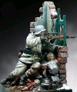 90-mm-WWII-Resin-Model-Kit-Sniper-Allemand-1944-comprend-base-Building-ruines