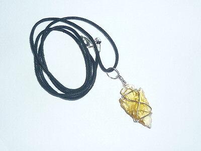 cristallo OSSIDIANA AMBRA PUNTA FRECCIA INDIANA CIONDOLO pendente IONI amuleto
