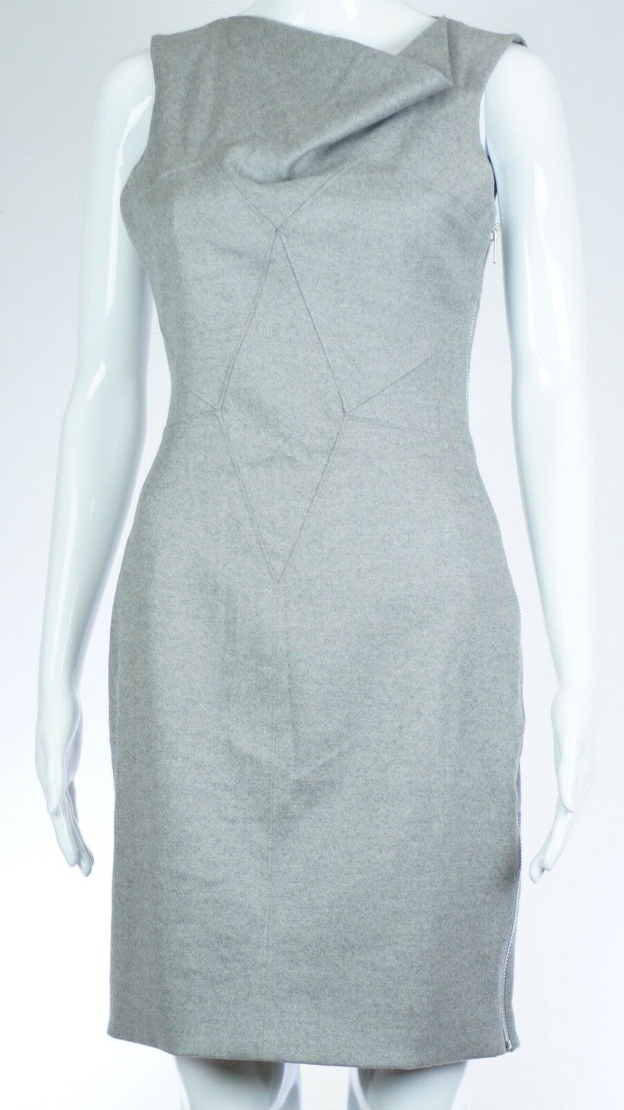Helmut Lang Ruffled Sleeveless Zip Up Dress Size 2 Small color Grey