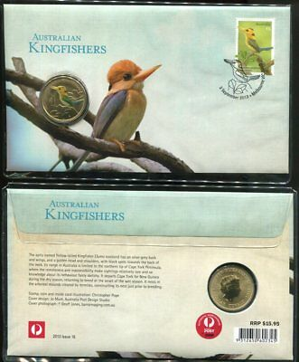 AUSTRALIA 1 DOLLAR 2013 YELLOW BILLED KINGFISHERS COIN FDC STAMP PNC