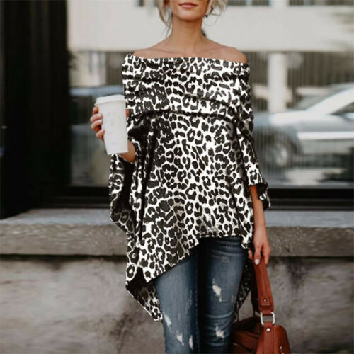 Women Off Shoulder Leopard Printed Asymmetric T-Shirts Irregular Tops Blouse 9