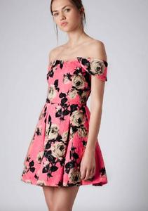 6416f11f69d447 TOPSHOP~Coral Pink Floral Jacquard Print Bardot Style Dress Size US ...