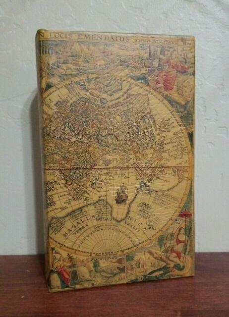 Book Box Hidden Jewelry Secret Fake Faux Vintage Treasure Black Antique Lined