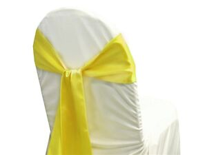 "Lemon Yellow 6""X108"" Satin Chair cover Sashes Bow Wedding Function Decoration"