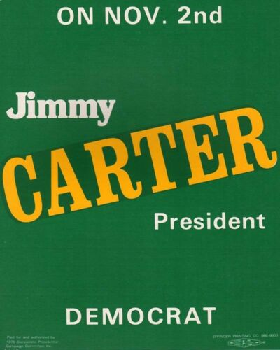 1976 Jimmy Carter Campaign Poster Sign
