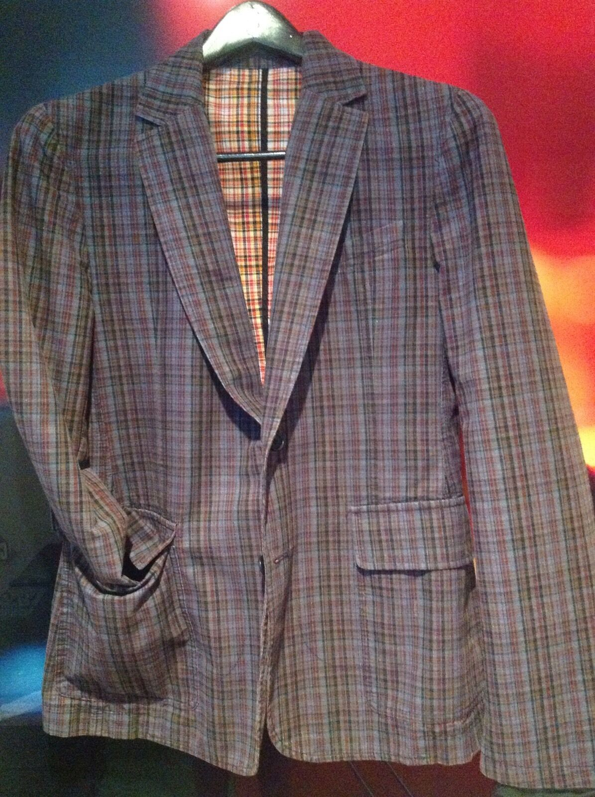 D & G -DOLCE & GABBANA - FITTED PLAID COTTON SPORT COAT - SIZE 50 EURO