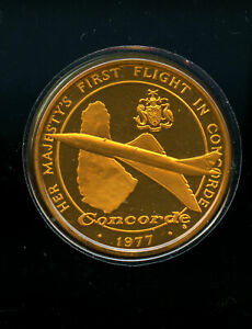 1977-First-Flight-of-Concorde-Medal-Gold-plated-Silver-Barbados-London-CQ188