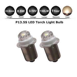 2X-P13-5S-LED-Conversion-Upgrade-bulb-Flashlight-Torch-0-5W-3-6-9-12V-D-C-Cell