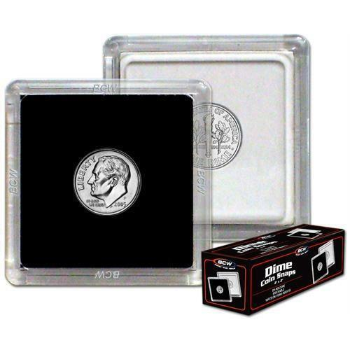 BOX OF 25 BCW 2X2 COIN SNAP DIME BLACK PREMIUM LONG-TERM STORAGE SNAPS