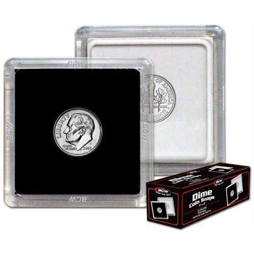 BOX OF 25 BCW 2X2 COIN SNAP DIME BLACK PREMIUM LONG-TERM STORAGE SNAPS
