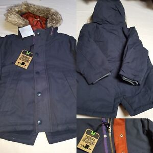 282737af7 Details about BNWT NEXT Baby Boys 3-6 months Navy Cotton Parka Hooded  Shower Resistant Coat
