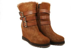 Boots Buckles With Wool Accredited Leather Pegia Zip Lining Women's Tan And Pure wqCzUqnt4x
