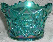 Teal Green iridescent Carnival glass candy fruit bowl diamond star pattern blue