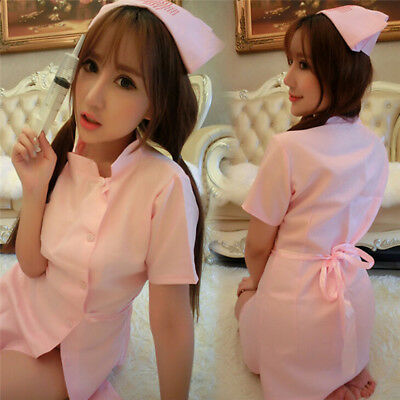 Nurse Uniform Sexy Womens Lingerie Dress Panty  Cosplay Role Play Costume TB