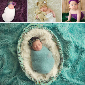 Newborn Girls Stretch Knit Baby Wrap Photography Photo Props Flower