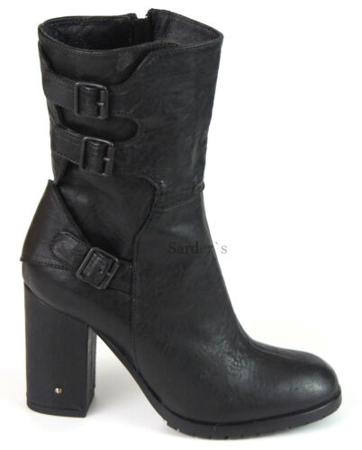 Alek Neu Pifek Ankle Boots Stiefel Leder Heels 41 Schwarz High Kurz Fornarina axqw7gq