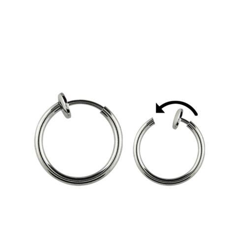 8 mm universalmente-clip cierre color plata 12 mm Ø Fake piercing-Ring