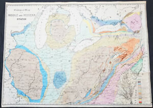 Details about 1843 James Hall Large Antique Geological Map Central American  States Great Lakes