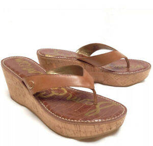 Sam Edelman ROMY Sandals Wedge Brown Cork Heel Women's Size 9.5 M Platform Thong