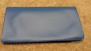 blue vinyl checkbook holder duplicate flap cover top tear check