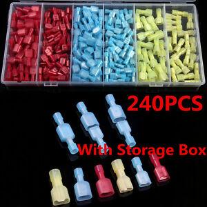 240Pcs-Assortment-Nylon-Electrical-Crimp-Wire-Connectors-Terminals-Spade-Set-Kit