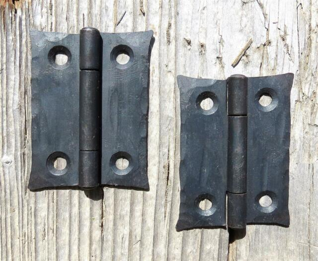 """2 Wrought Iron 2"""" Butt Door Hinges Hand Forge Antique Cabinet Cupboard Box Decor"""