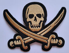NOVELTY GOTHIC SEW ON / IRON ON PATCH:- JOLLY ROGER PIRATE SKULL & CROSSBONES