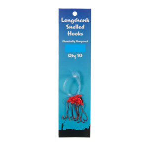 New 10 packs long shank snelled fishing hooks pre tied chemically sharpened