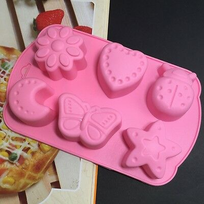 DIY Silicone Ice Cube Chocolate Cake Cookie Cupcake Soap Candy Mould 6 Pattern