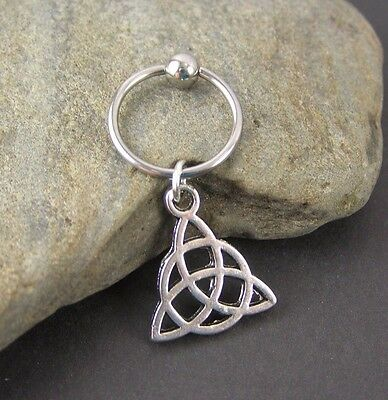 """Celtic Trinity Knot Cartilage Piercing Captive Ring 14G 1/2"""" Helix Earring  NEW"""
