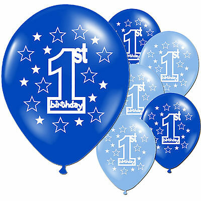 """10 Blue Boy's 1st Birthday Party 11"""" Pearlised Latex Printed Balloons"""