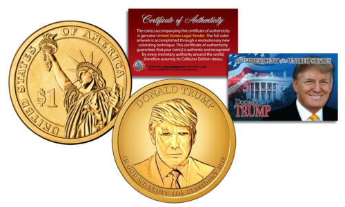 DONALD J TRUMP 45th President Golden-Hue PRESIDENTIAL DOLLAR $1 US Coin with COA