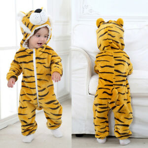 00c0e0693 Toddler Newborn Baby Boy Girl Tiger Cartoon Hooded Romper Jumpsuit ...