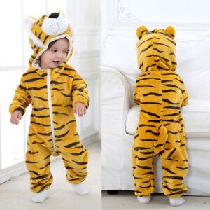00c0e0693 Toddler Newborn Baby Boy Girl Tiger Cartoon Hooded Romper Jumpsuit ...