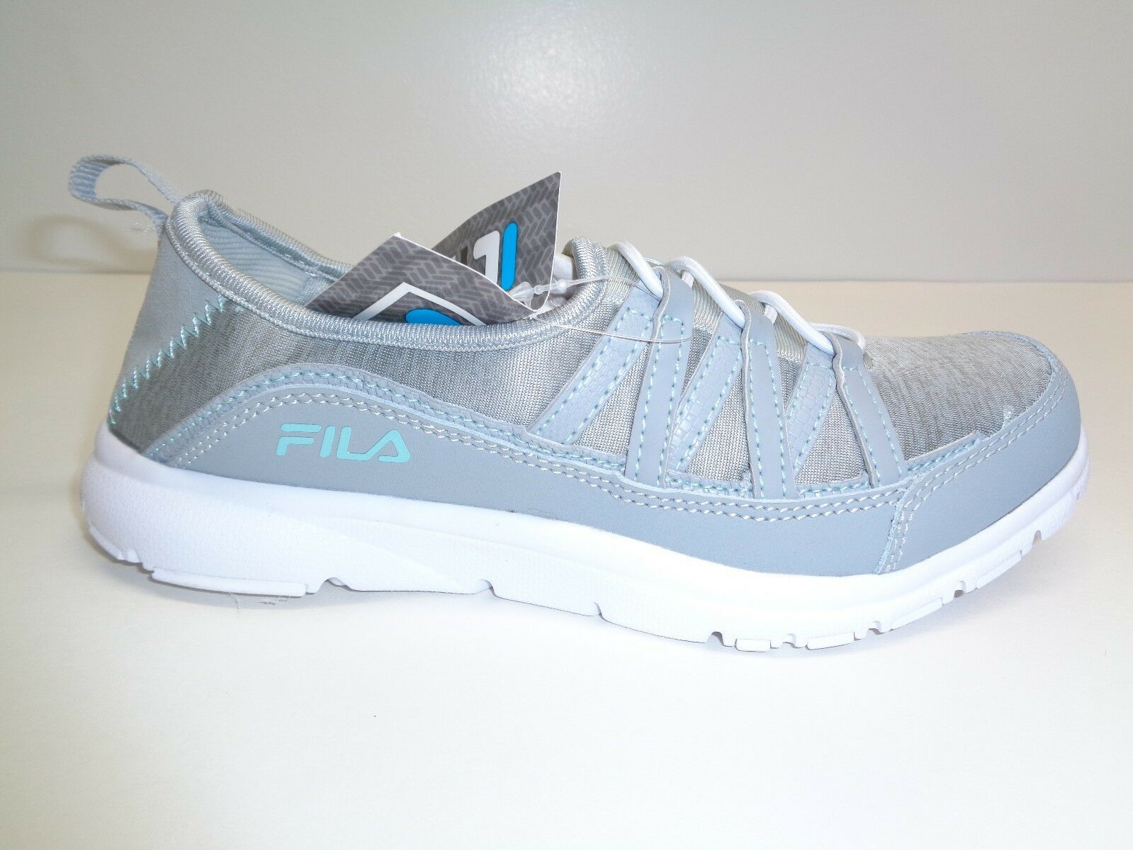 Fila Size 6.5 MEMORY PILOTA Grey Mint Leather Slip On Sneakers New Womens Shoes