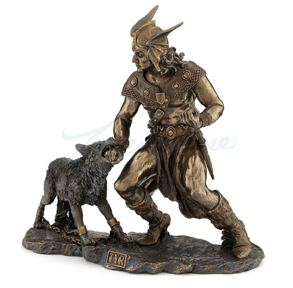 Der nordische gott tyr mit hand in den mund  - skulptur fenrir ragnarök '