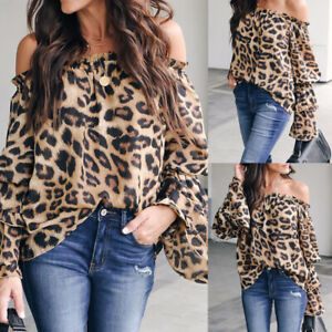 Summer-Women-Off-Shoulder-Blouse-Shirt-Casual-Leopard-Printed-Long-Sleeve-Top