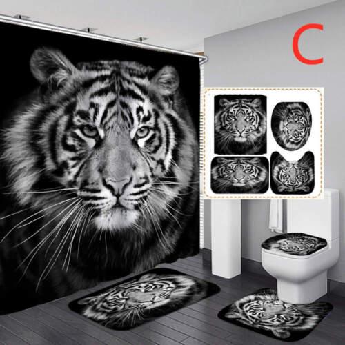 Tiger Art Shower Curtain Door Bath Mat Toilet Cover Rugs Bathroom Set 1//3//4Pcs