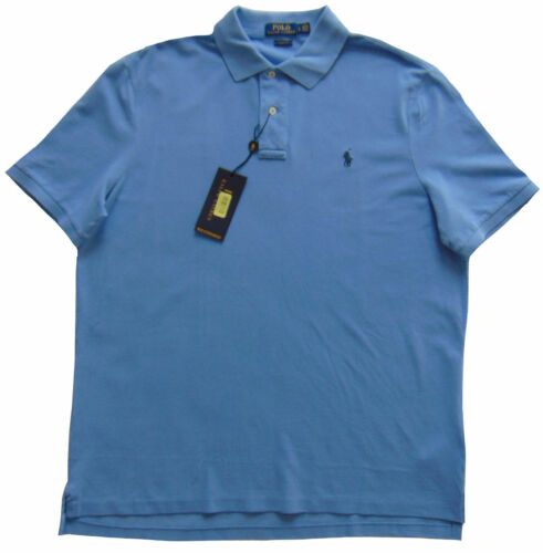 POLO RALPH LAUREN Harbor Blue Waffle Knit Cotton Polo Rugby Shirt NEW Large Lg L