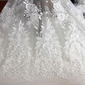 "51/"" Rose Robe de mariée tissu floral à Cordon Broderie Mariage Tissu En Dentelle 0.5 Y"
