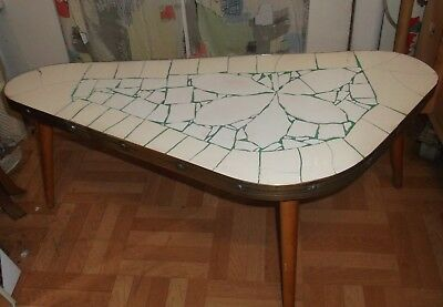 Chairs 50er 60er Table Kidney-shaped Mosaic Side Flower Bench Mid Century 50s