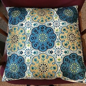 Pier-1-Decorative-Pillow-Multi-color-Embroidery-Asian-Appliqued-Flowers-17-EUC