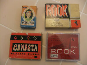 Lot-of-4-Vintage-Card-Games-Parker-Brothers-Rook-Whitman-Old-Maid-amp-Canasta