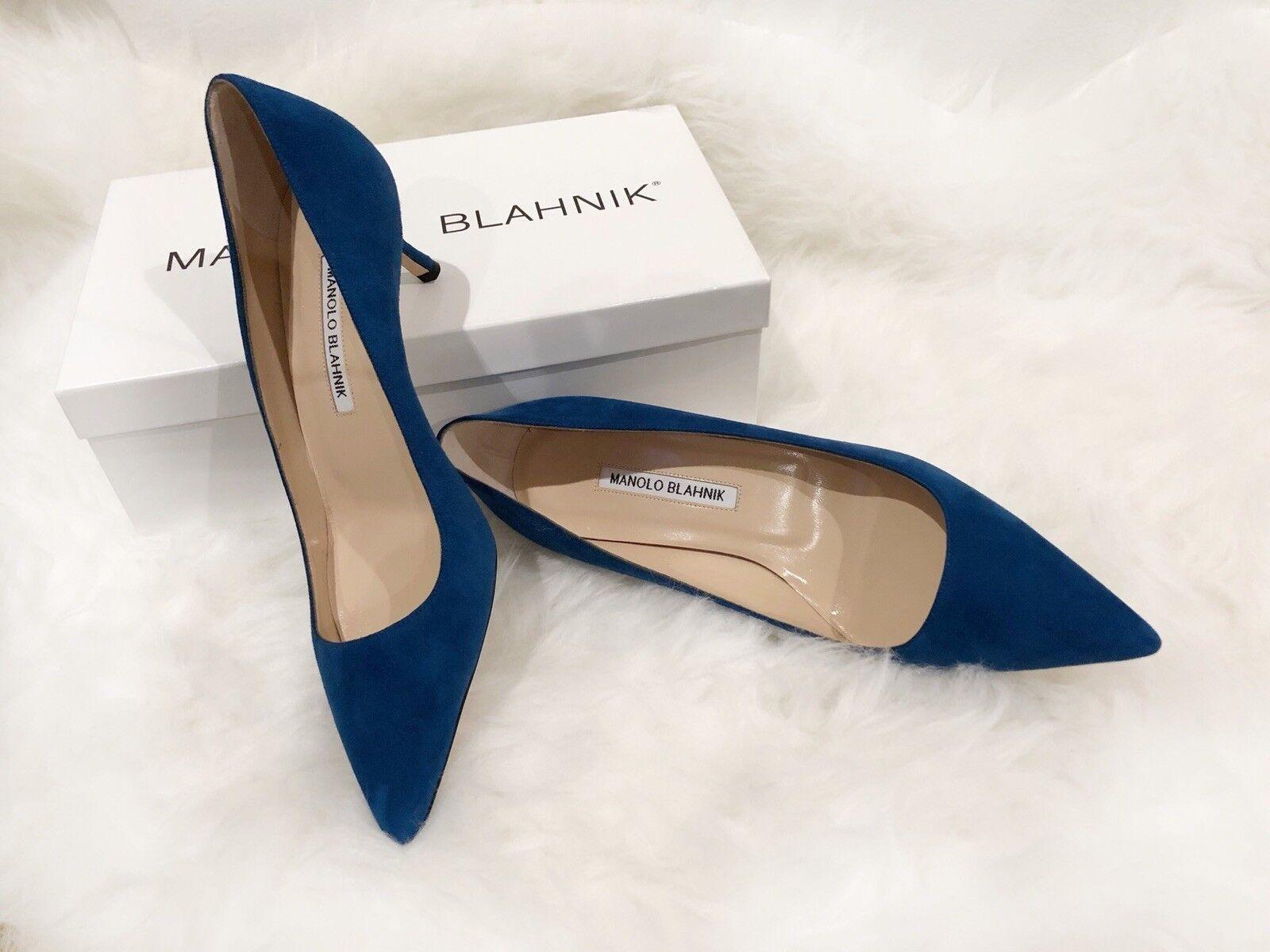 595 NIB Manolo Blahnik bluee Suede Pumps BB 50 Heels Size37.5