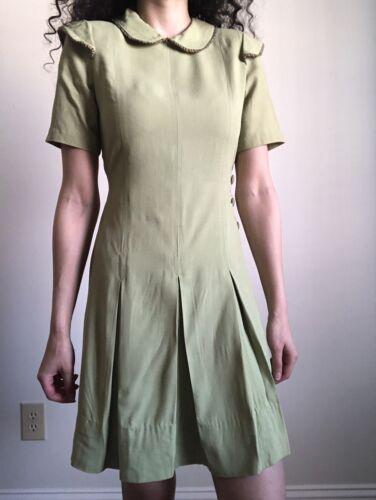 1940s Green Chartreuse Rayon Teentimer Dress