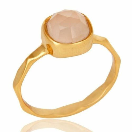 Rose Chalcedony 18K Gold Plated 925 Sterling Silver Ring Gemstone Jewelry