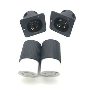 (Set of 2) L14-30 Plug and Connector Set for Generator Power Cables Generic