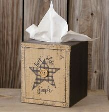 "PRIMITIVE SQUARE TISSUE BOX COVER HOLDER ""KEEP LIFE SIMPLE"" WITH STAR AND BUTTON"