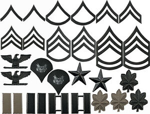 Subdued-Officer-Rank-Insignia-Set-Military-Black-Metal-Pin-On-Army-Rank