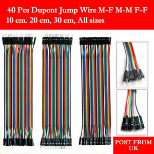 40pcs Dupont Jump Wire M-F M-M F-F Jumper Breadboard Cable Lead For Arduino UK